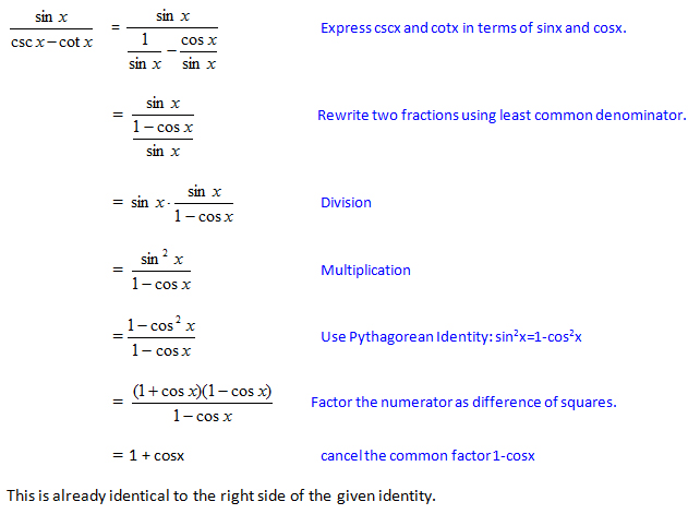 List trigonometric identities by request step-by-step